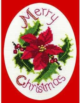 Derwentwater Designs Cross Stitch Kit - Christmas Card, Poinsettia and Holly