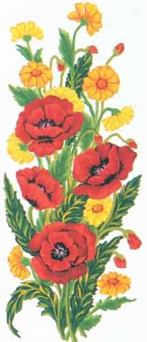 Grafitec Printed Tapestry Needlepoint Canvas - Poppies