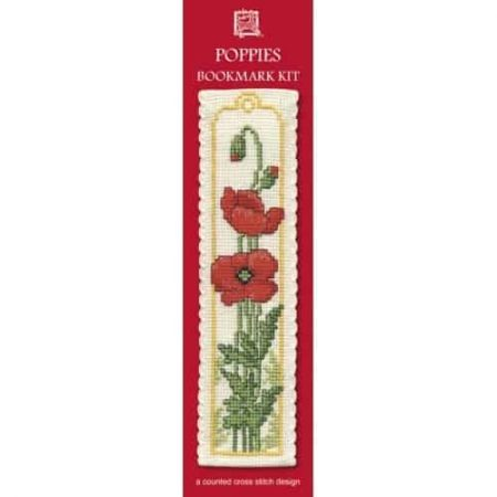 Textile Heritage Cross Stitch Kit - Bookmark - Poppies - Made in Scotland