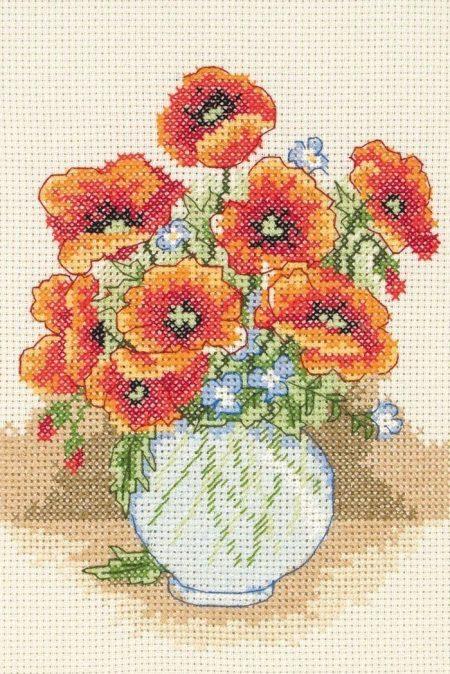 Anchor Cross Stitch Kit - Poppy Vase AK122