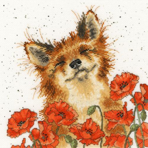 Bothy Threads Cross Stitch Kit - Poppy Field, Fox