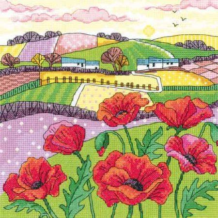 Heritage Crafts Cross Stitch Kit - Poppy Landscape