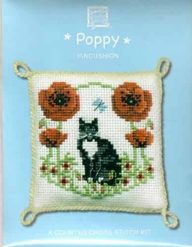 Textile Heritage Cross Stitch Kit - Pincushion - Poppy, Flower, Cat - Made in Scotland