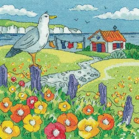 Heritage Crafts Cross Stitch Kit - By the Sea - Poppy Shore