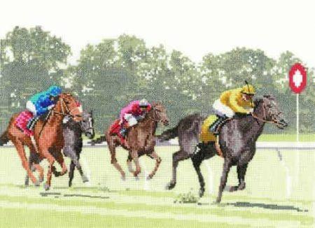 Heritage Crafts Cross Stitch Kit - Finishing Post, Racehorses