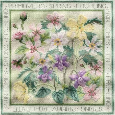 Derwentwater Designs Cross Stitch Kit - Four Seasons, Spring, Flowers