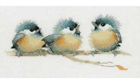 Heritage Crafts Cross Stitch Kit - Trios - Sitting Pretty, Chickadee