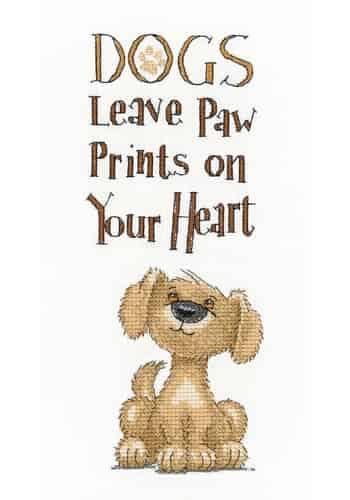 Heritage Crafts Cross Stitch Kit - Paw Prints, Dogs