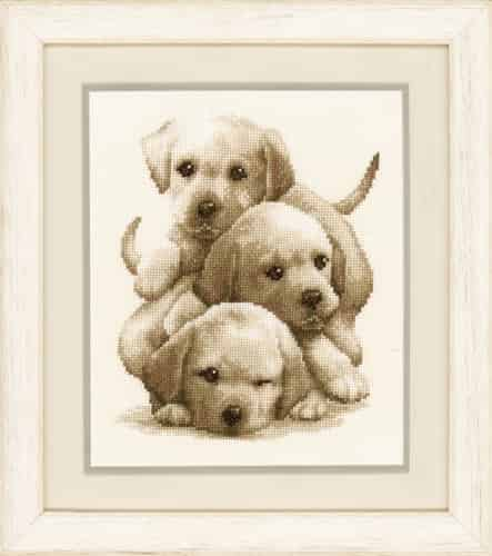 Vervaco Cross Stitch Kit - Labrador Puppies PN0148781