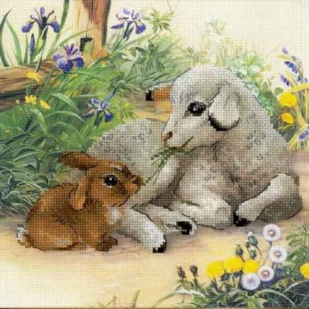Riolis Cross Stitch Kit - Lamb and Rabbit 0051PT