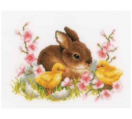 Vervaco Cross Stitch Kit - Rabbit with Chicks, Spring