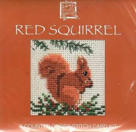 Textile Heritage Cross Stitch Kit - Card - Red Squirrel - Made in Scotland