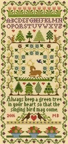 Bothy Threads Cross Stitch Kit - Moira Blackburn Green Tree Sampler XS2