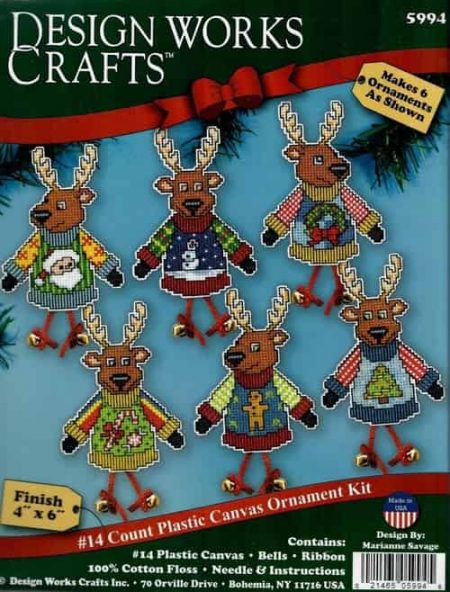 Design Works Cross Stitch Kit  Christmas Tree Ornaments - Reindeer Jumpers