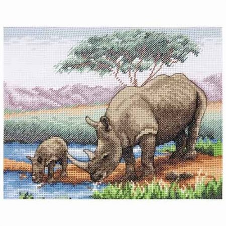 Anchor Cross Stitch Kit - Rhinos PCE966