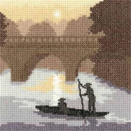 Heritage Crafts Cross Stitch Kit - Silhouettes, On the River
