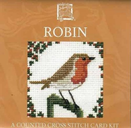 Textile Heritage Cross Stitch Kit - Card - Robin - Made in Scotland