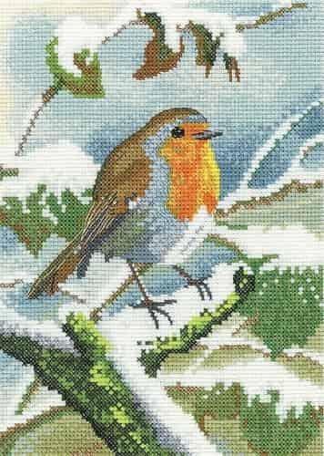 Heritage Crafts Cross Stitch Kit - Nigel Artingstall - Robin in Winter