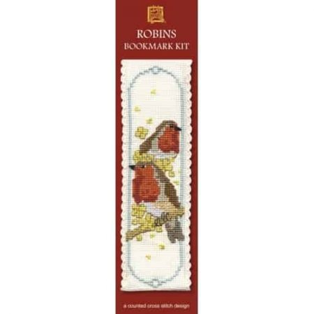 Textile Heritage Cross Stitch Kit - Bookmark - Robins - Made in Scotland