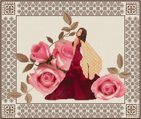 DoodleCraft Design Cross Stitch and Blackwork Kit - Rose Fairy
