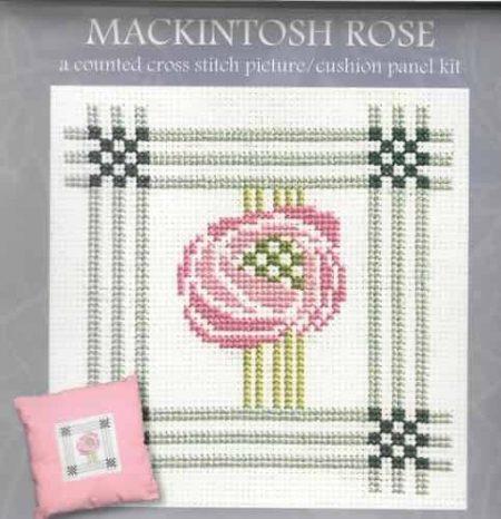 Textile Heritage Cross Stitch Kit - Picture or Cushion Panel Mackintosh Rose