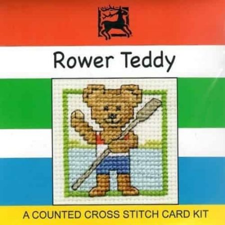 Textile Heritage Cross Stitch Kit - Card - Rower Teddy - Made in Scotland