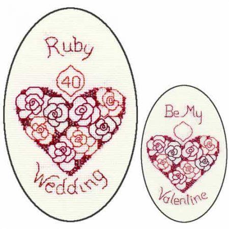 Derwentwater Designs Cross Stitch Kit - Ruby Anniversary or Valentine Card