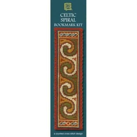 Textile Heritage Cross Stitch Kit - Bookmark - Celtic Spiral Terracotta - Made in Scotland