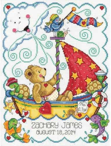 Tobin Baby Design Works Cross Stitch Kit - Sail Away Sampler