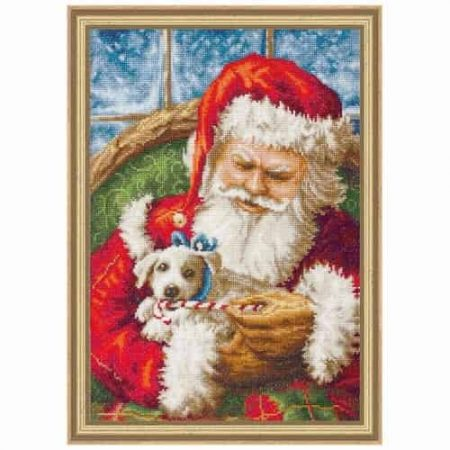 Luca S Cross Stitch Kit - Santa Claus & Puppy, Christmas B561