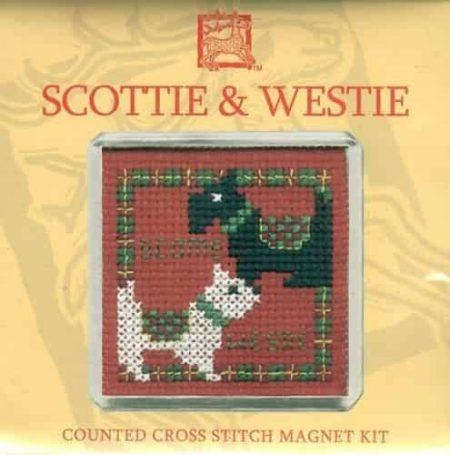 Textile Heritage Puffins Fridge Magnet Cross Stitch Kit