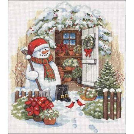Dimensions Cross Stitch Kit - Garden Shed Snowman