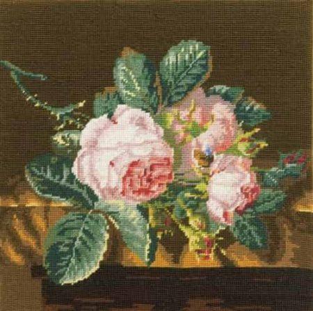 DMC Preprinted Tapestry Canvas - Roses on Silk