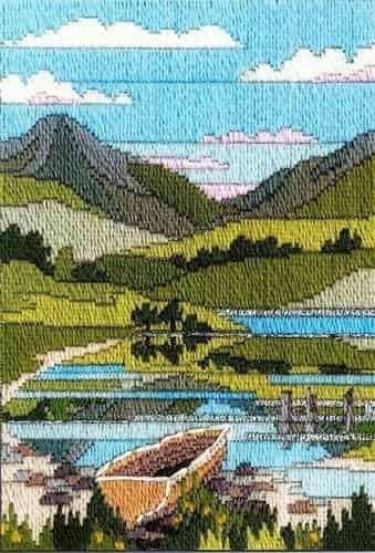 Derwentwater Designs Long Stitch Kit - Seasons, Mountain Spring, Boat, Lake