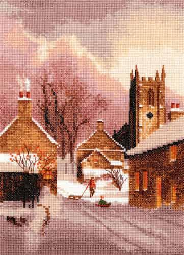 Heritage Crafts Cross Stitch Kit - Snowy Village