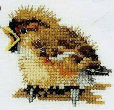 Heritage Crafts Cross Stitch Kit - Little Friends, Sparrow, Bird