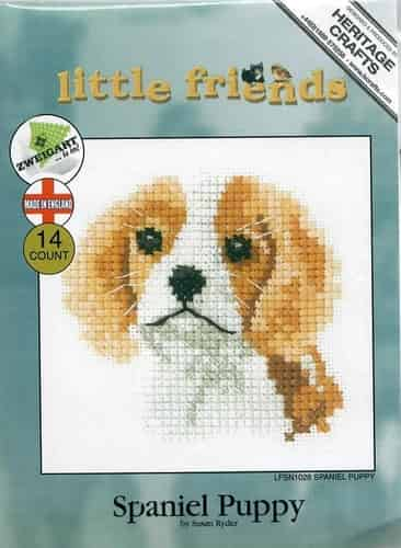 Heritage Crafts Cross Stitch Kit - Little Friends, Spaniel Puppy