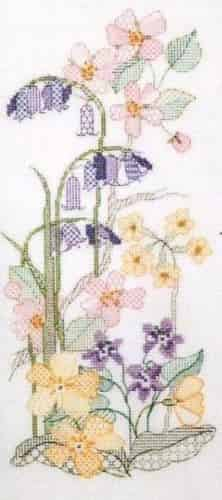 Derwentwater Designs Backstitch Kit - Seasons Panels - Spring