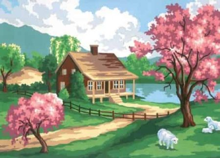 Grafitec Printed Tapestry Needlepoint Canvas - Spring Cottage
