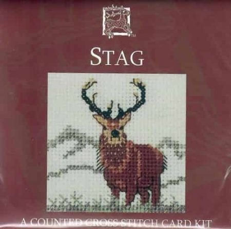 Textile Heritage Cross Stitch Kit - Card - Stag - Made in Scotland