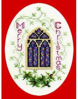 Derwentwater Designs Cross Stitch Kit - Christmas Card, Stained Glass Window