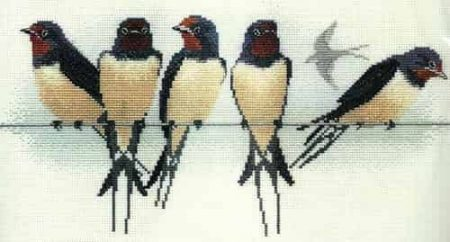 Derwentwater Designs Cross Stitch Kit - Swallows, Birds
