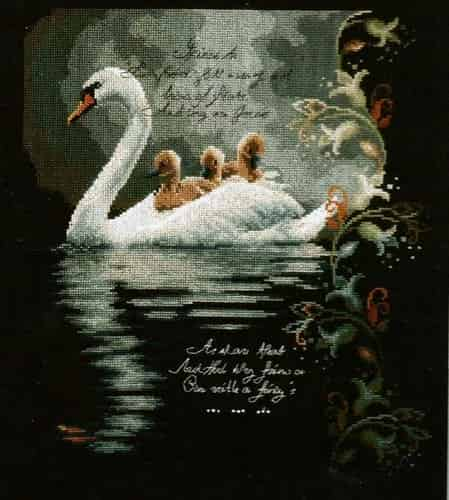 Lanarte Cross Stitch Kit - Swan with Cygnets