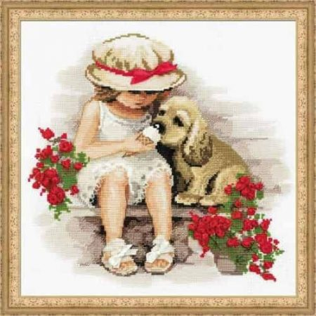 Riolis Cross Stitch Kit - Sweet Tooth, Little Girl, Dog