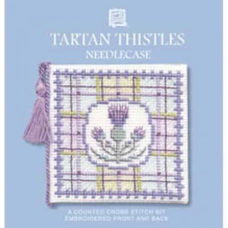 Textile Heritage Cross Stitch Kit - Tartan Thistles Window Needlecase - Made in Scotland