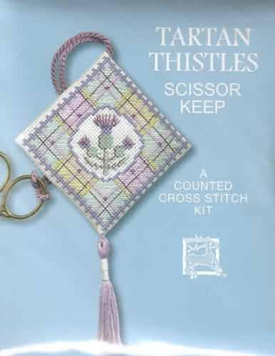 Textile Heritage Cross Stitch Kit - Scissor Keep - Tartan Thistles