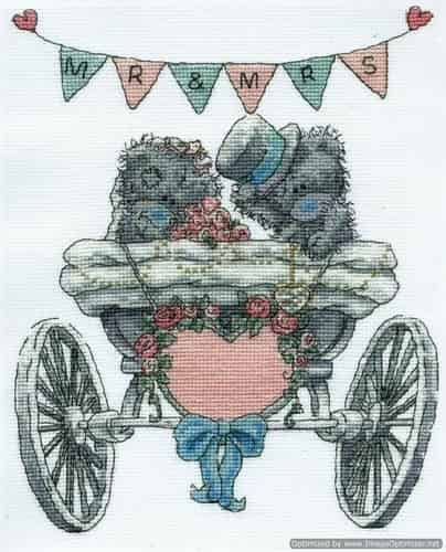 DMC Cross Stitch Kit - Tatty Teddy - Mr & Mrs - Wedding BL1082/72