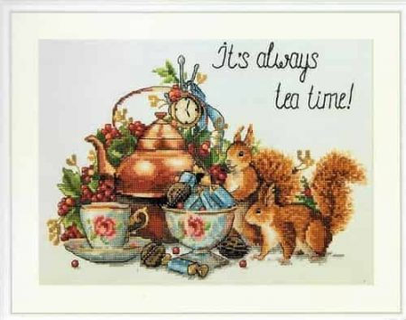 Merejka Cross Stitch Kit - It's Always Tea Time - DMC threads