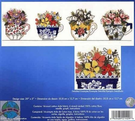 Janlynn Cross Stitch Kit - Row of Teacups, Floral