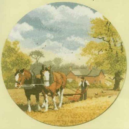 Heritage Crafts Cross Stitch Kit – John Clayton – Circles – Teamwork, Horses